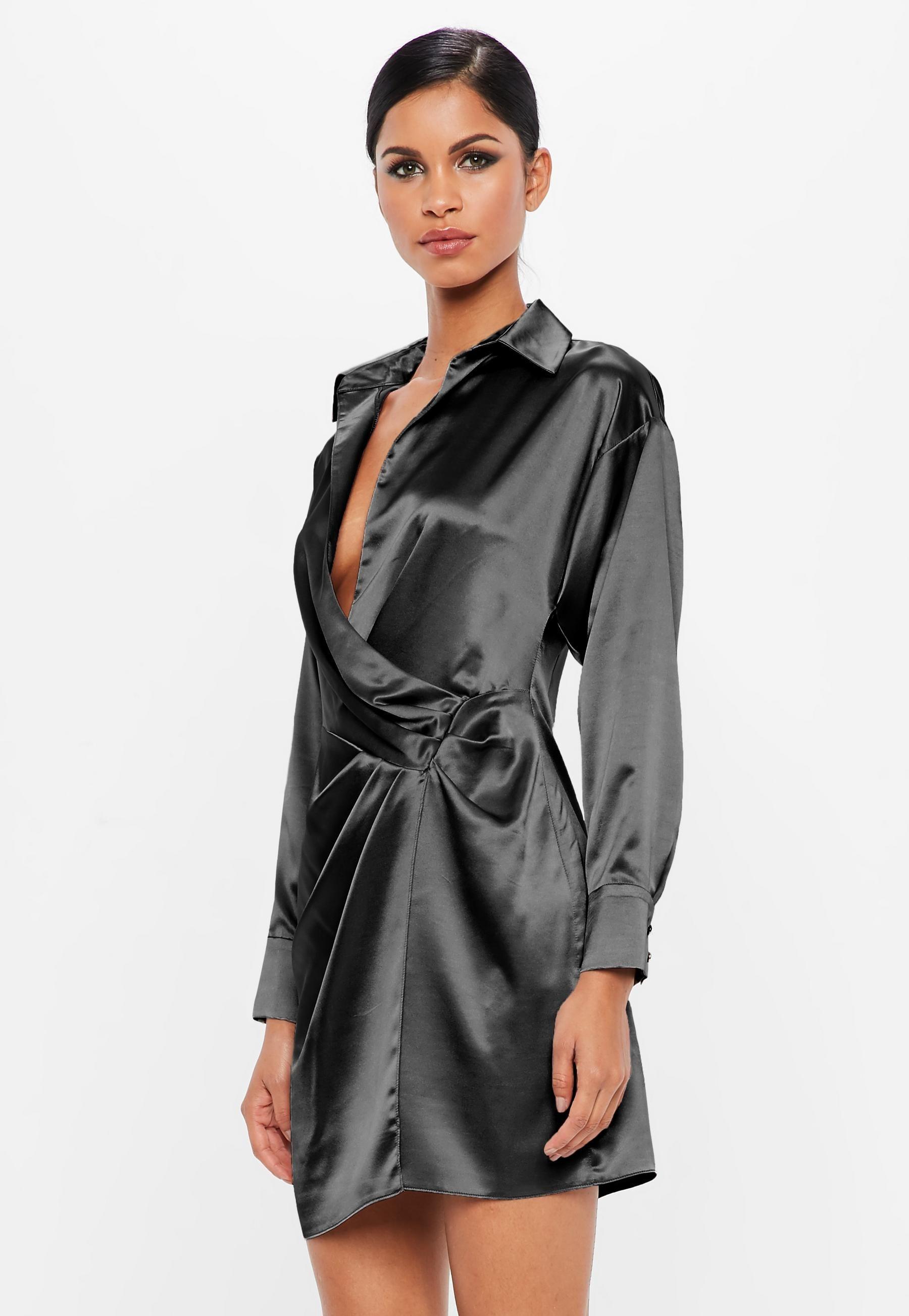 5f8ba760f98d7 Peace + Love Black Satin Wrap Mini Dress | Missguided | Veronica's ...