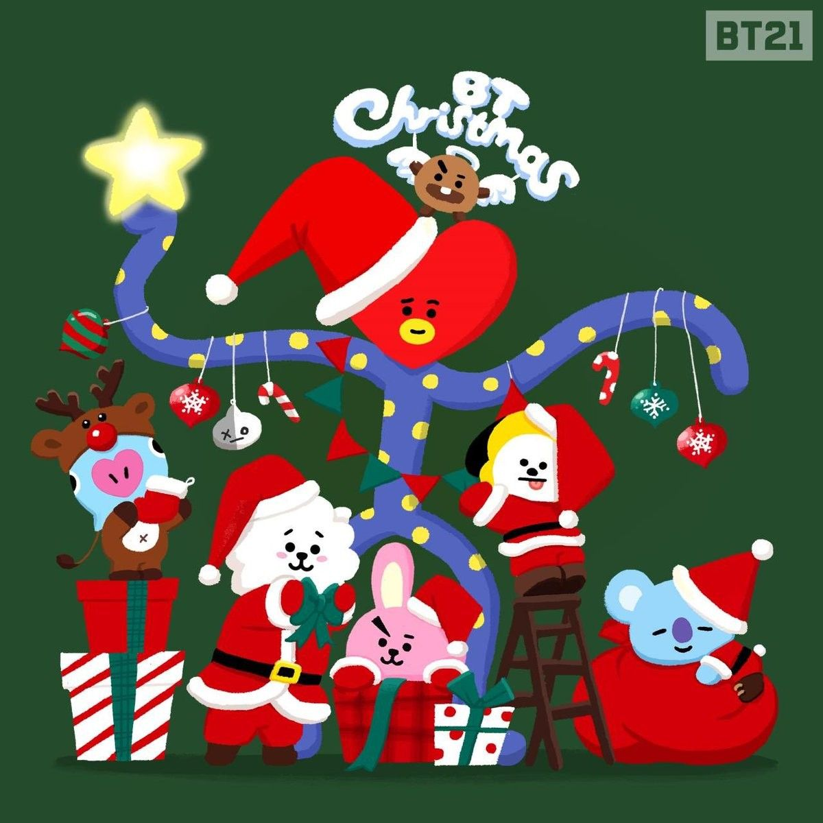 Bt21 Wishing All A Very Merry Merry Christmas Bts Christmas Christmas Art Christmas Wallpaper