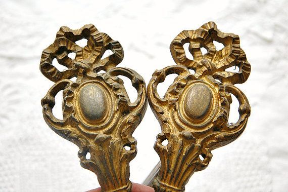 Antique Antique French curtain tie backs drape tie backs curtain holders ornate tie backs gilt finish heavy quality chateau chic pair