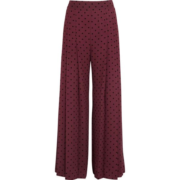 97a2651a See by Chloé Pleated polka-dot crepe wide-leg pants ($400) ❤ liked ...