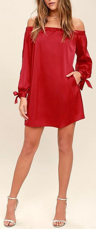 Award Show Red Satin Off-the-Shoulder Dress