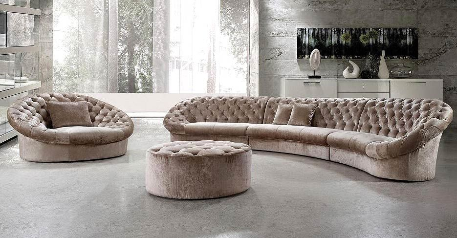 Good Leon Fabric Sectional Sofa, Chair And Round Ottoman