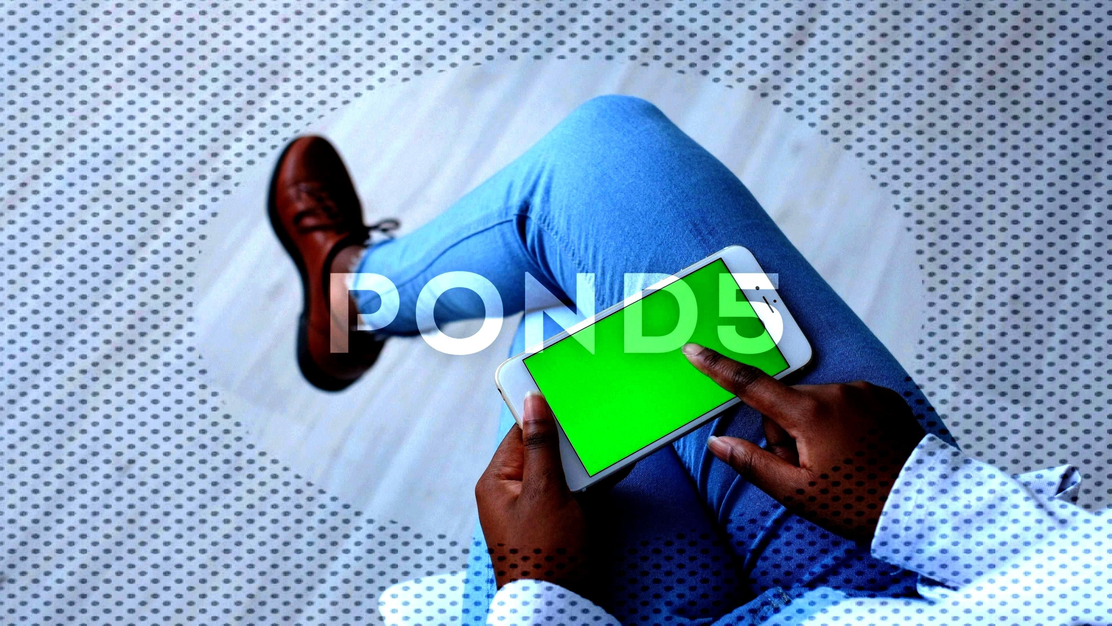 screen for Mock-up Replace. Afro Young Woman using Modern mobile gadget Stock Footage ,#Replace#Afr
