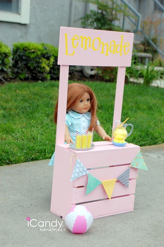 American Girl Lemonade Stand Tutorial by icandy Handmade: #americangirldollcrafts