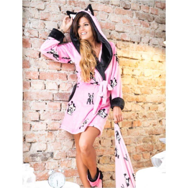 POPPY Bulldog mintás pink-fekete köntös  5f2024e84b
