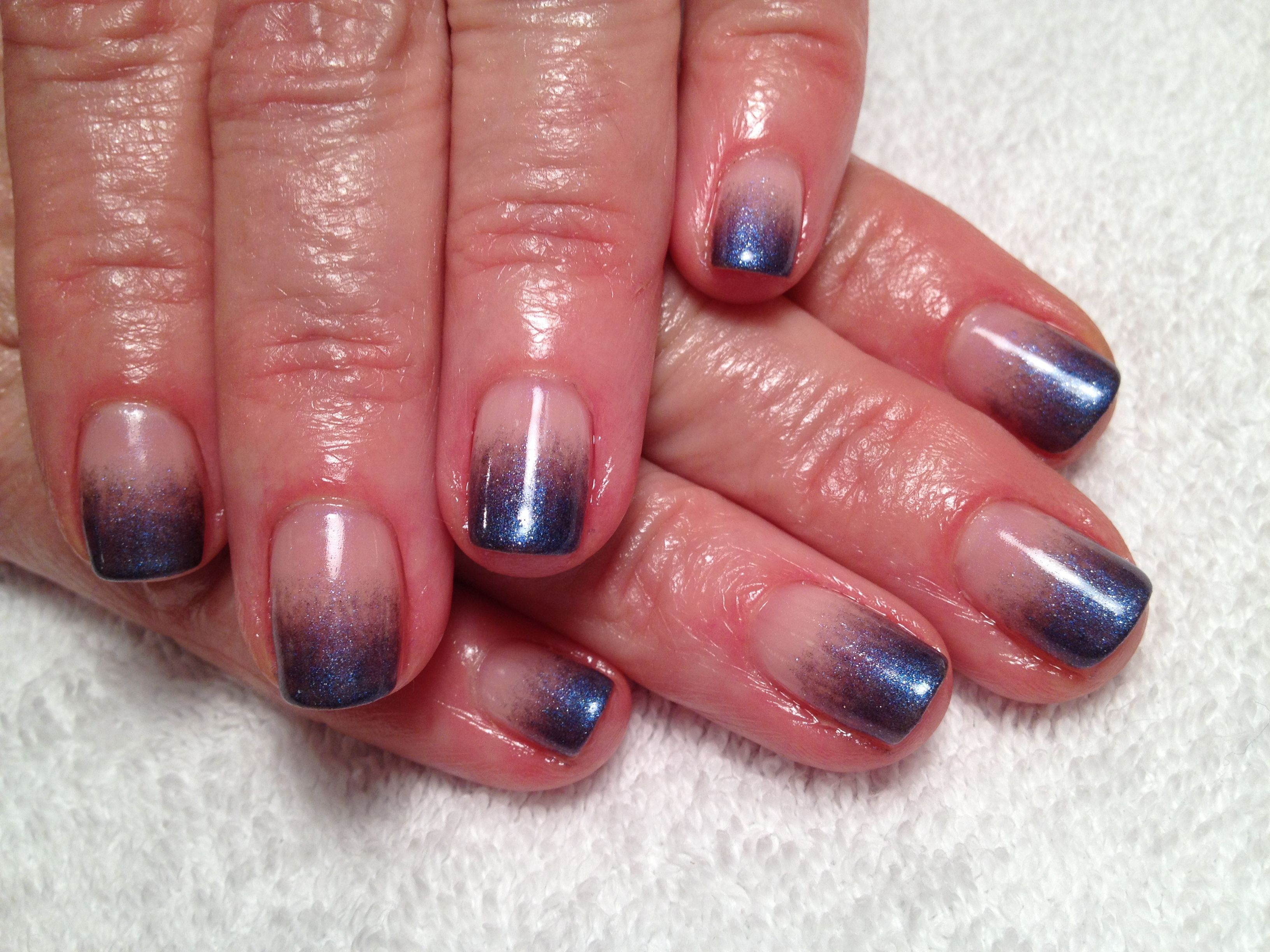 Pearly purple ombré nail art! I mixed powder eyeshadow with clear ...