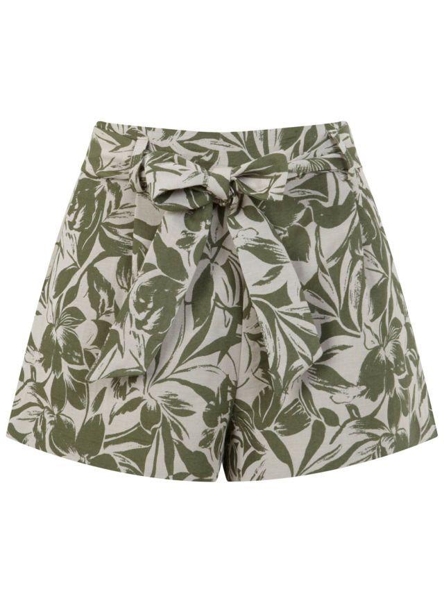 Miss Selfridge Leaf Print Tie Waist Short, $53; missselfridge.com     - ELLE.com