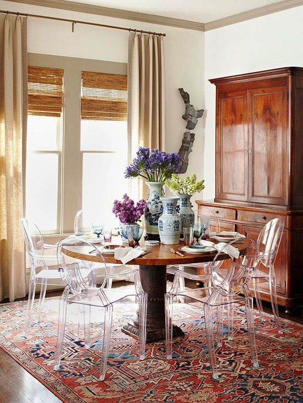 Red rug, modern interior decor, oriental rugs, oriental rug, dining room decor, wood interior decor, fresh flowers