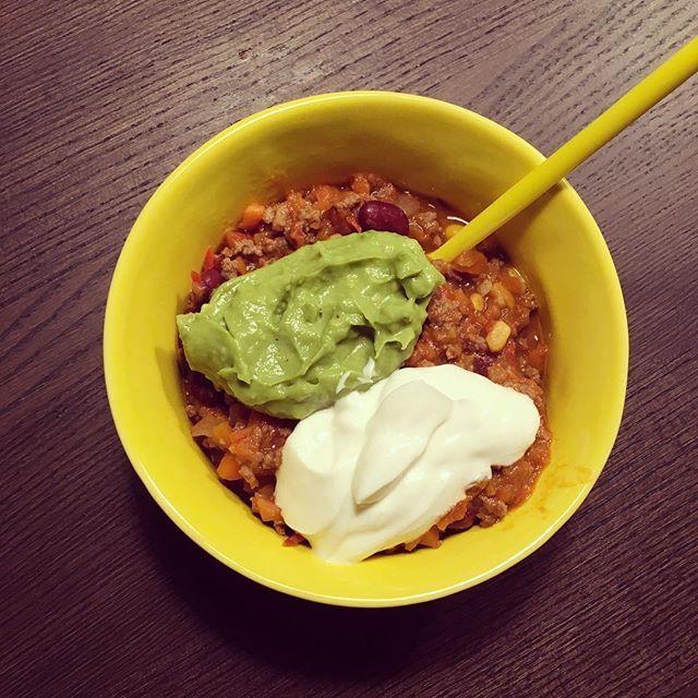chili con carne med guacamole