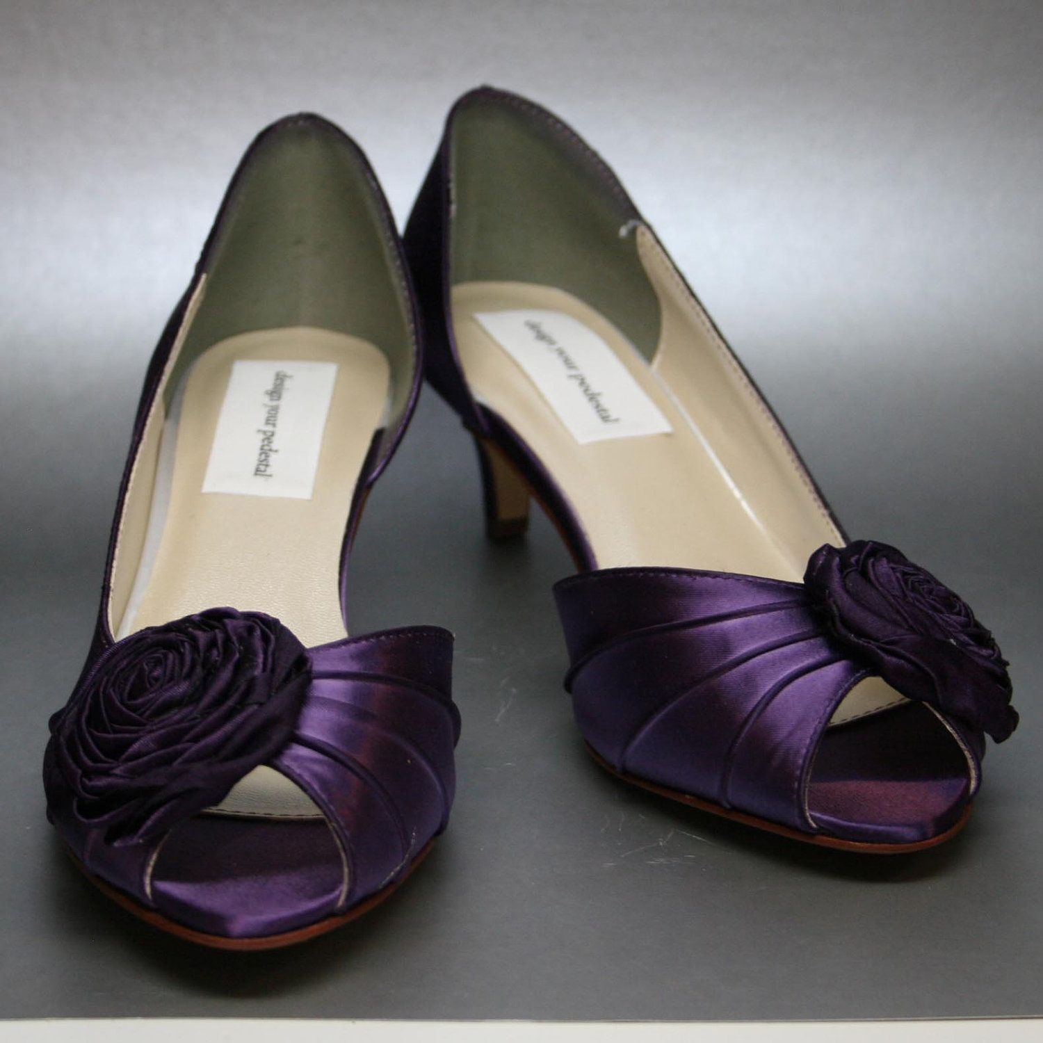 Blush Wedding Shoes D Orsay P Toes With Handmade Rosette On Toe And Matching Satin Ons