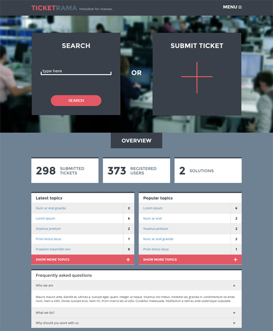 This knowledge base WordPress theme comes with a working ticket ...