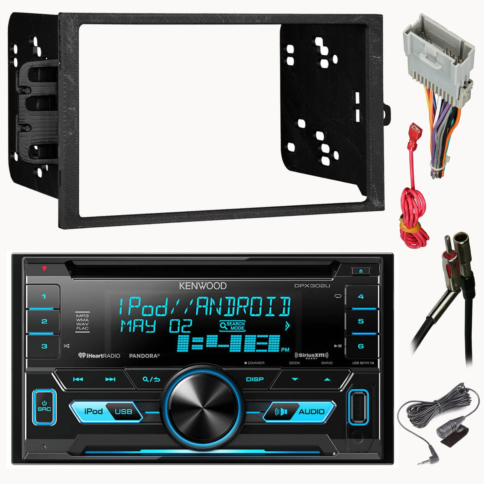 Kenwood DPX302U 2-Din CD Car Receiver Package With Install Kit For on