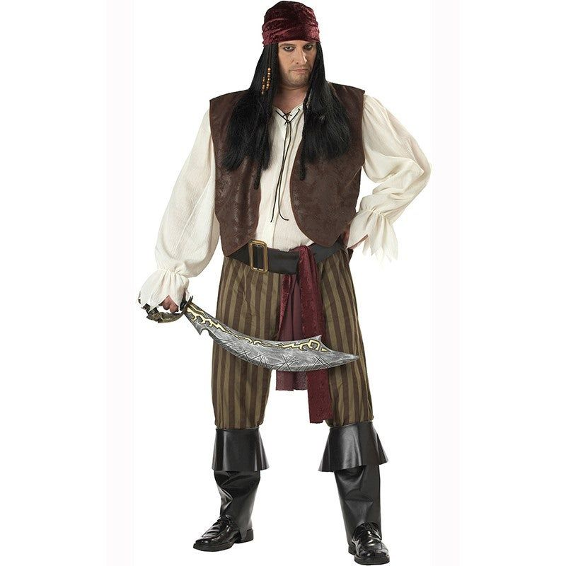 Rogue Pirate Plus Size Adult Costume Rogue Pirate Plus Size Adult CostumeYou may look rugged and rough but this Rogue Pirate is really a sweetheart looking for his pirate wench! Have fun this Halloween in this Rouge Pirate plus size costume.Item Includes: Shirt With Attached Vest Bandana Waist Sash Belt Pants Boot TopsPlease Note:Our products come with the items listed in the above product description. For accessories shown in the photo, please check our store for availability, as we stock a mas