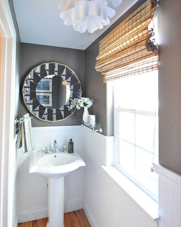 On The Walls In My Powder Bathroom Is Valsparu0027s U201cSeineu201d U2013 A Deep Mushroom  Gray Color With A Little Chocolate Brown In It Too. I Also Installed  Beadboard ...