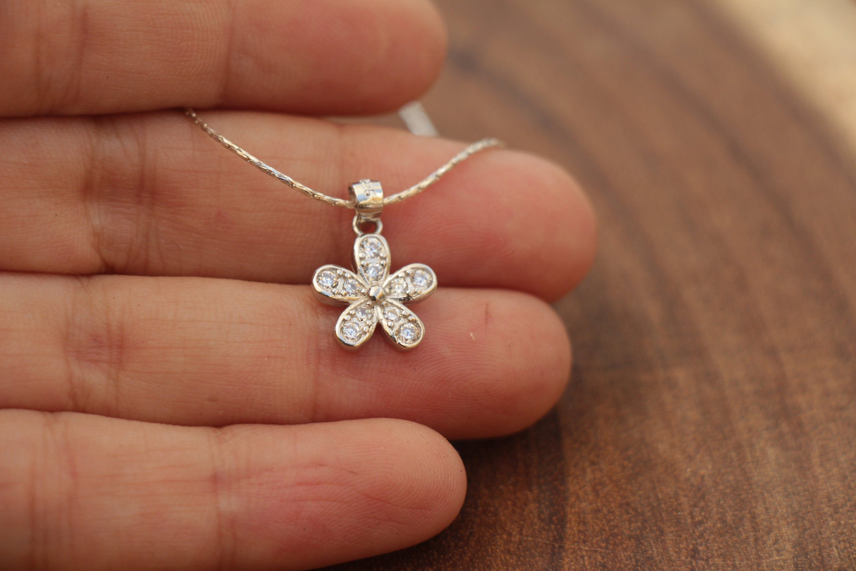 small Flower pendant birthstone pendant Gift opal pendant necklace Opal pendant lily flower pendant small pendant sterling silver