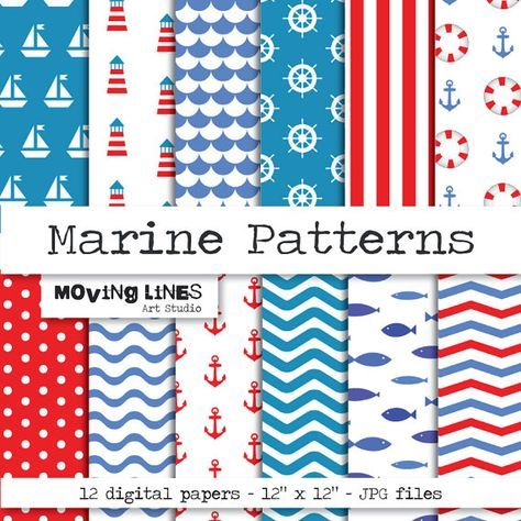 Marine Seamless Digital Papers for Web and Large by MovingLines, $3.90