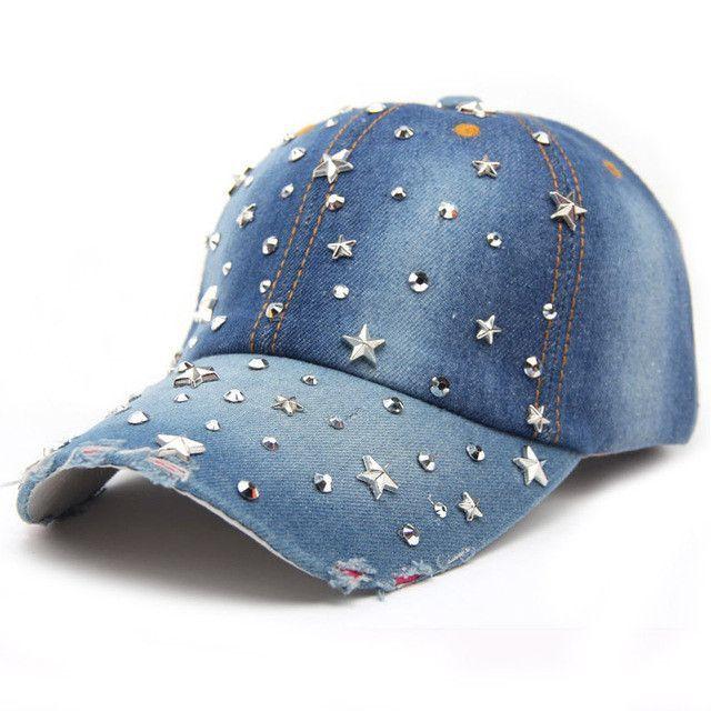 7a8f2385 VONRU Brand New Denim Hats Fashion Leisure Woman Cap with Stars Rhinestones  Vintage Jean Cotton Baseball Caps for Men Hot Sale