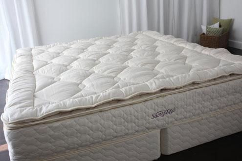 An organic mattress topper made with certified organic wool can help your favorite mom sleep in plush, natural comfort. Visit savvyrest.com for more details.
