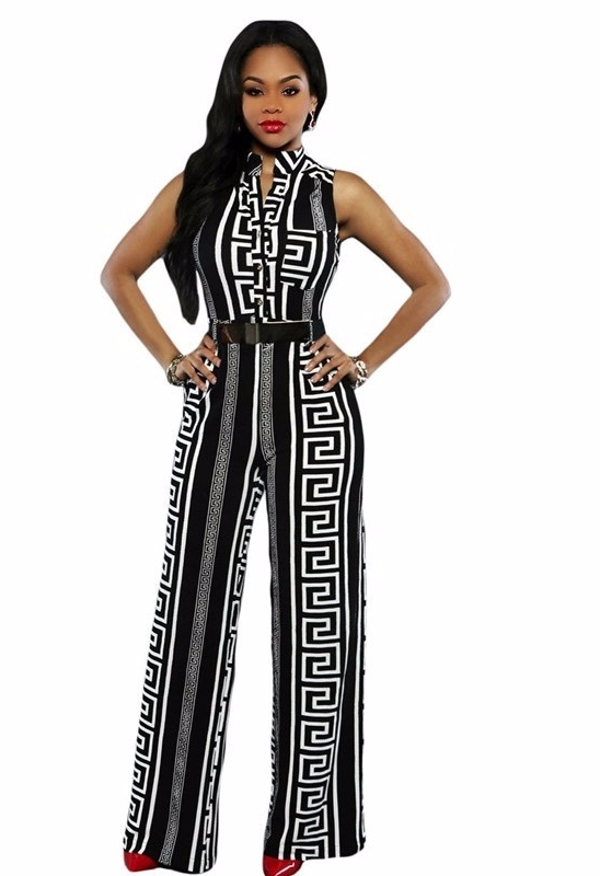 29424416ca7 Women Black White Sleeveless Stripe Print V Neck Long Jumpsuit With Belt -  Jumpsuits   Rompers