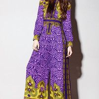 mollym Vintage 1960s Purple and Yellow Floral Print Malcom Starr Jumpsuit