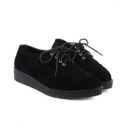 Comfy shoes with a punk twist to it! $18.40 Casual Women's Flat Shoes With Lace-Up and Openwork Design