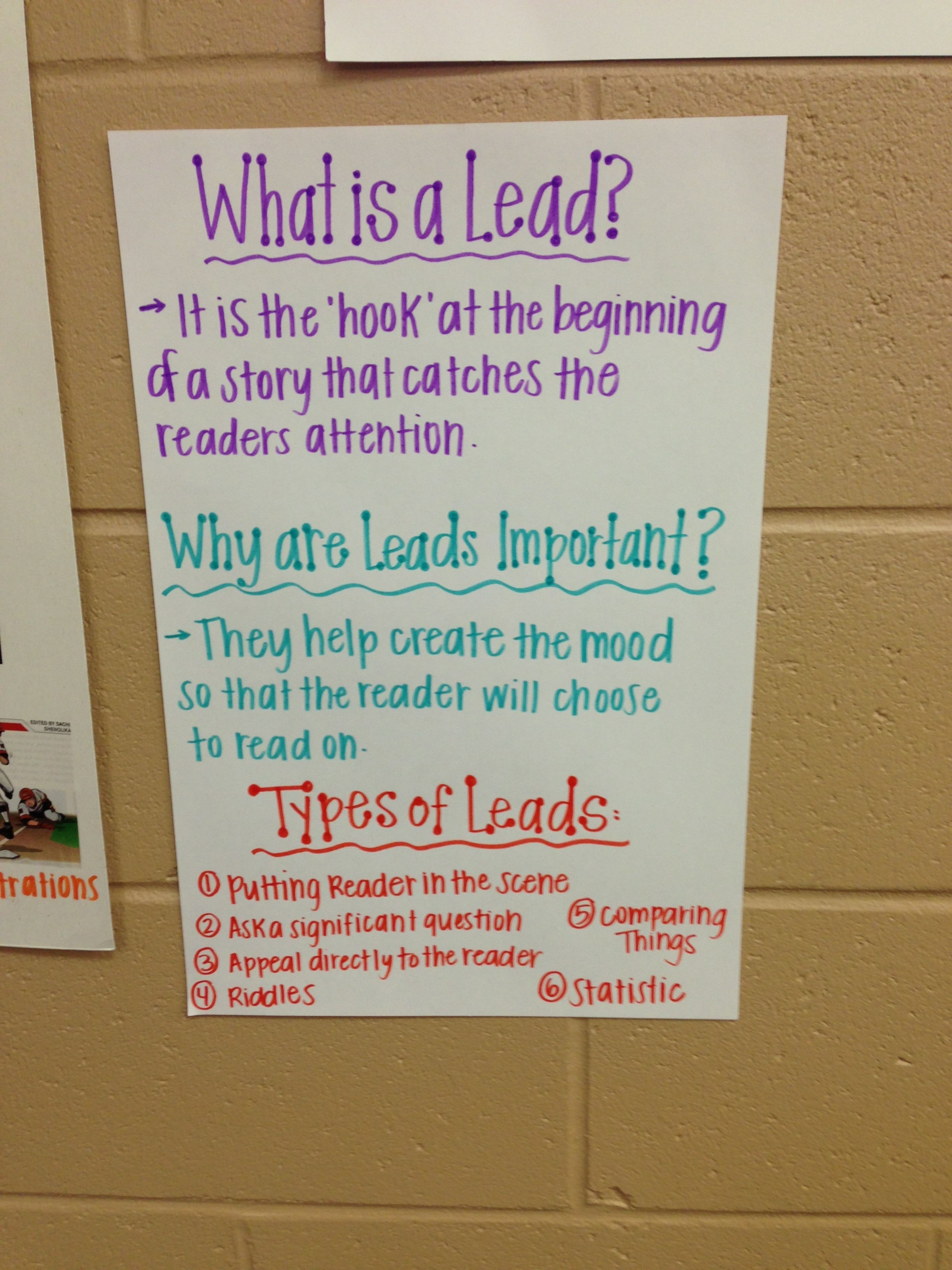 leads in introductions for our nonfiction feature articles