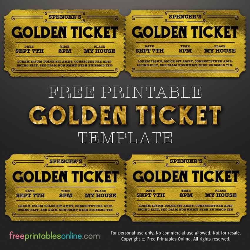 Customizable Golden Ticket Template Free Printables Online Golden Ticket Template Ticket Template Free Printables Ticket Template