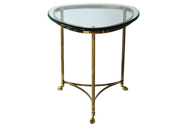 Brass And Glass La Barge Side Table By La Barge With Curved Stretchers And  Legs Supported