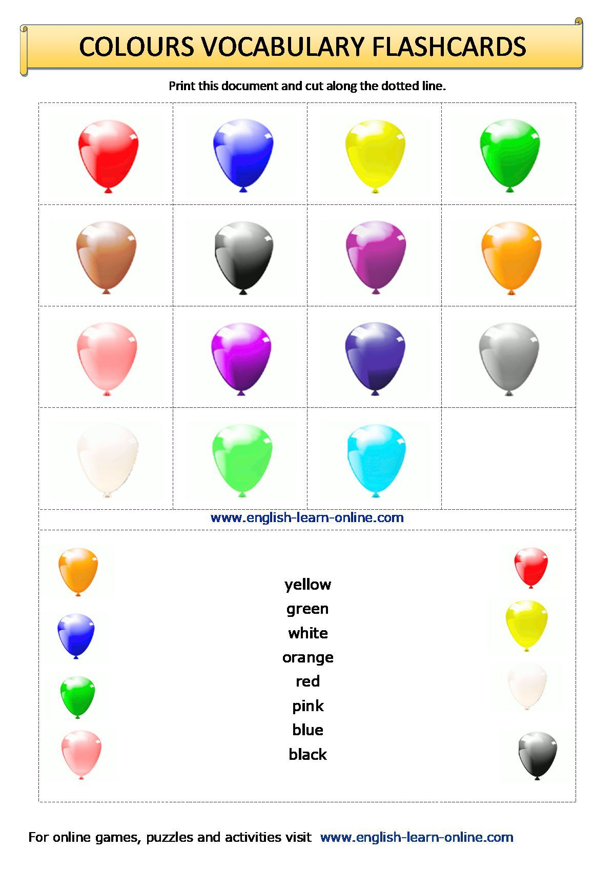 Colours Vocabulary Flashcards Worksheet In