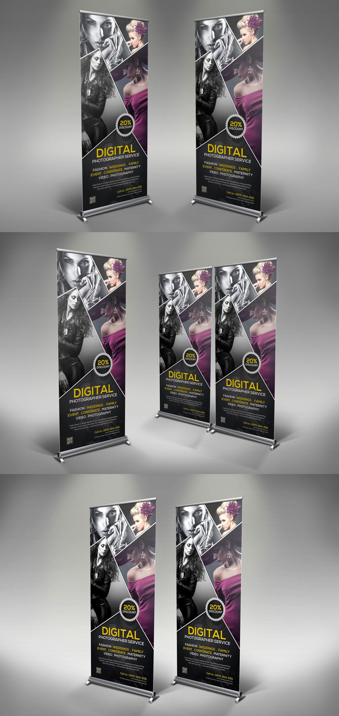 Photography Rollup Banner Template Psd