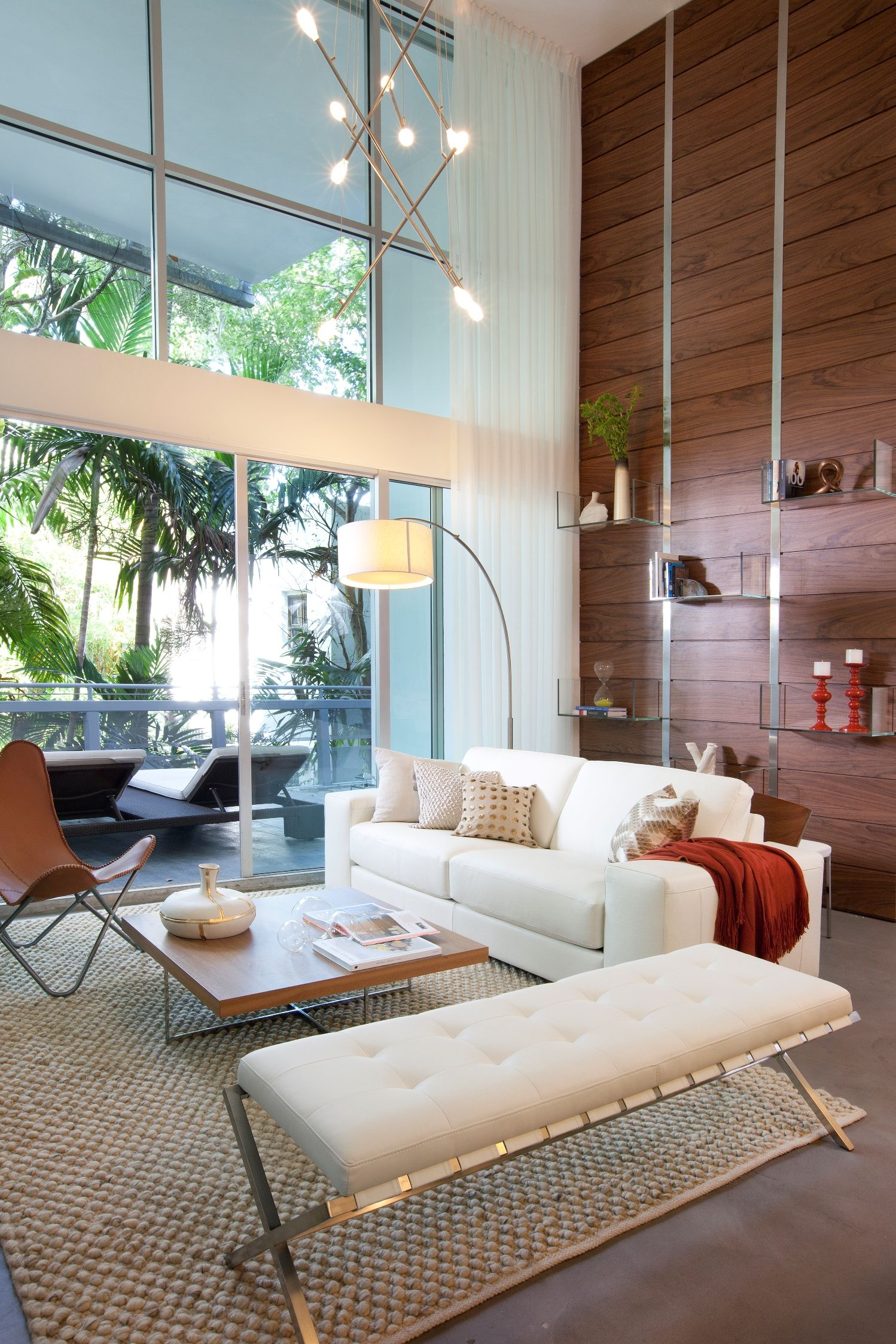 Living Room Drapery Wallpaper And Upholstery At This Residential Cool Living Room Miami Design Ideas