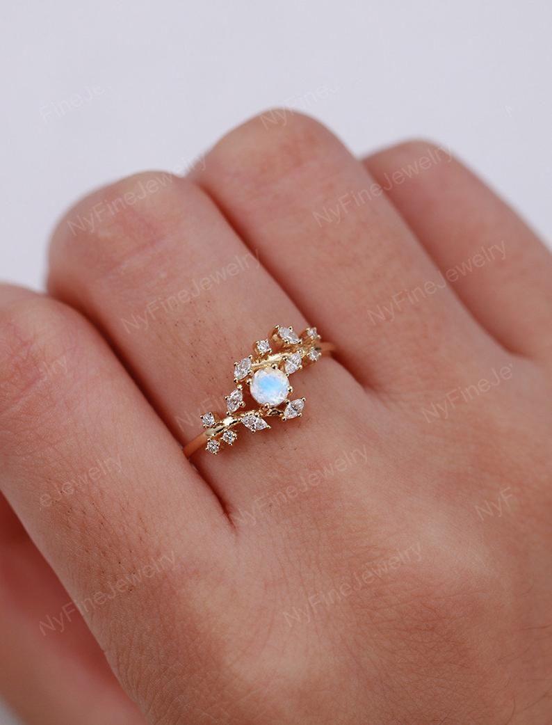Vintage moonstone Ring set rose gold Diamond Cluster ring set Unique engagement ring leaf wedding Bridal Promise Anniversary ring set