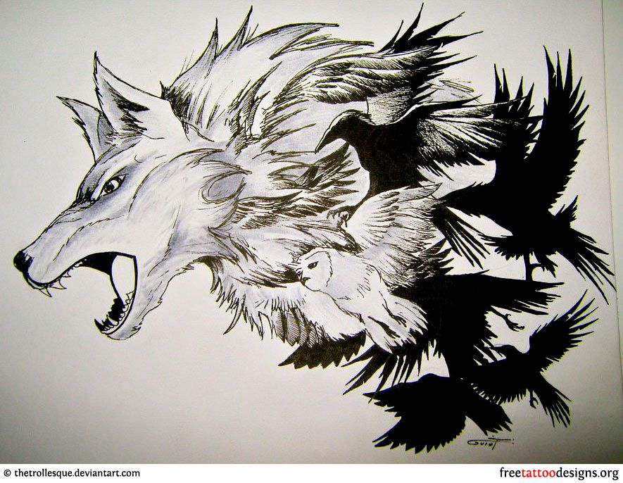 35ef475d7 Wolf, crows and eagle tattoo design   Piercings and Tattoos   Wolf ...