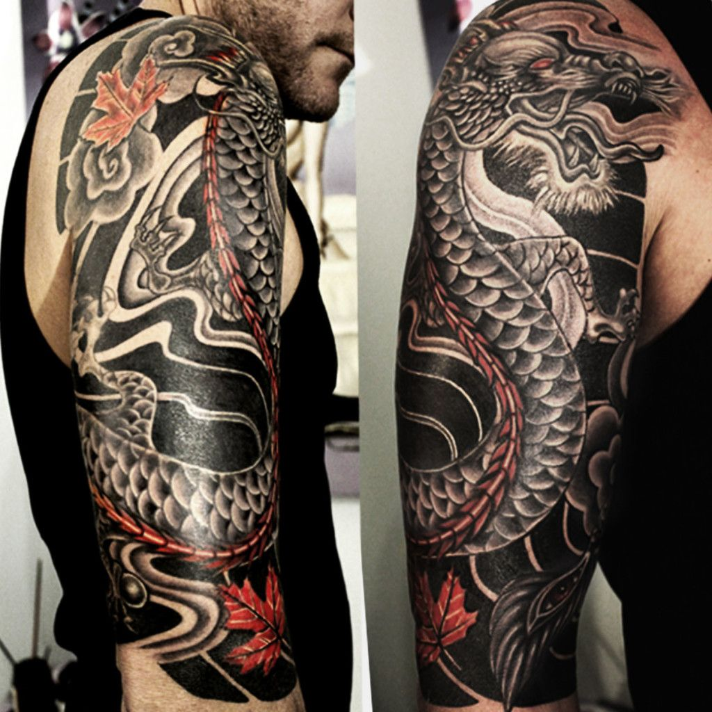 japanese dragon half sleeve cover up tattoo abyss Sleeve