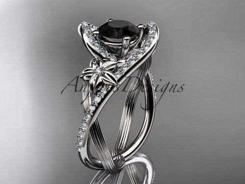 platinum wedding ring with a black diamond center stone adlr369 httpblackdiamond - Wedding Ringscom