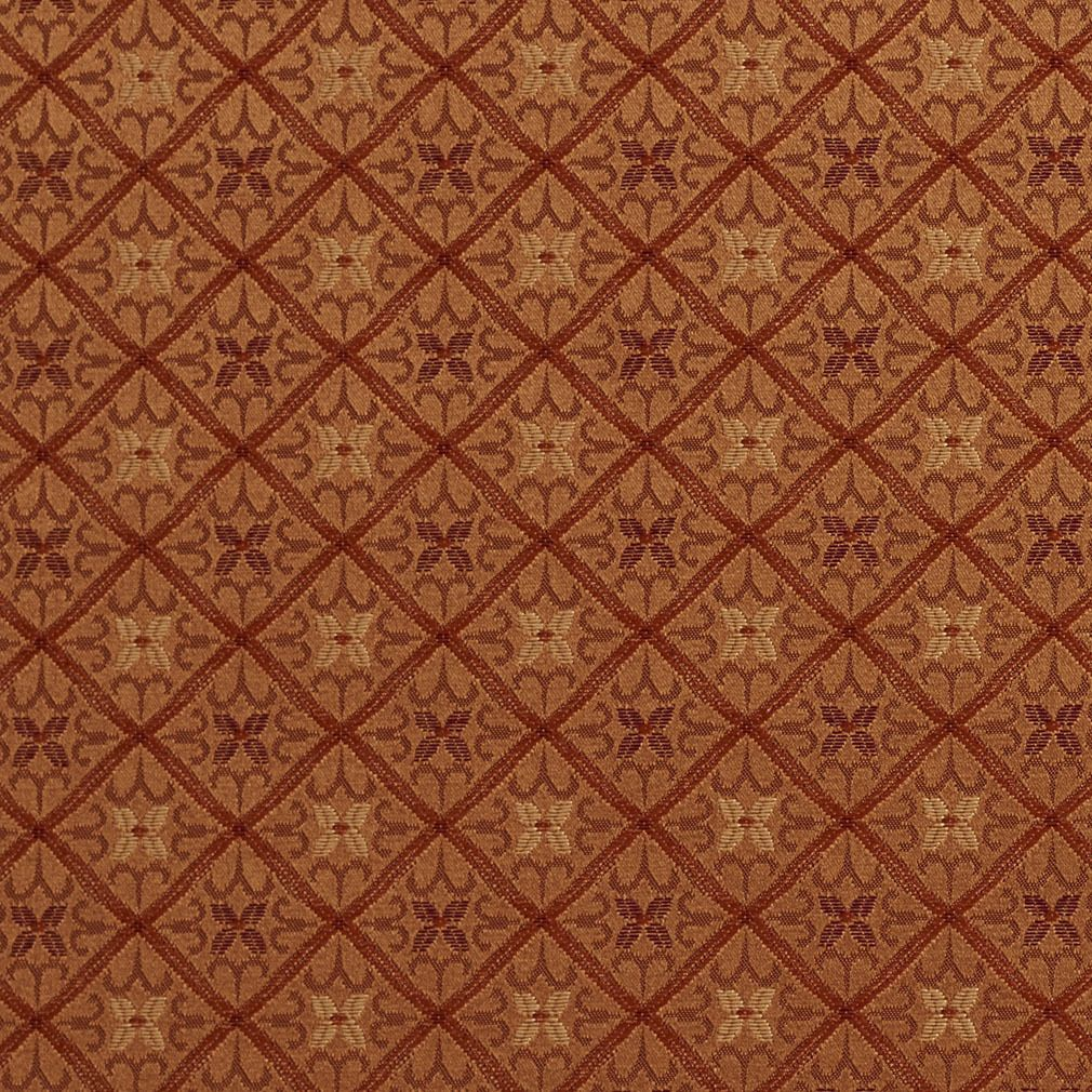 Diamond Orange Red Gold Damask Upholstery Drapery Fabric By The