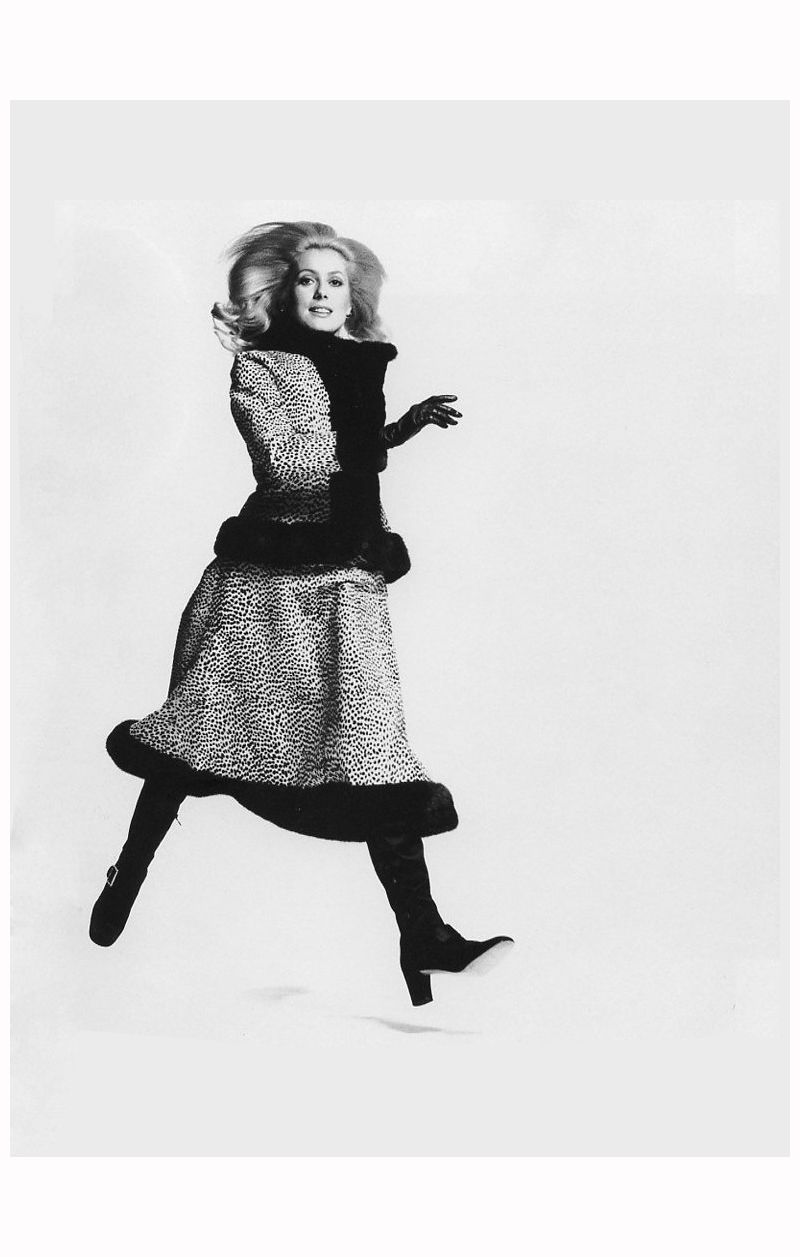 Catherine Deneuve in calfskin and mink cheetah print suit by Arnold Scaasi.  Photo by Francesco Scavullo, 1970.