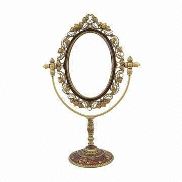 Antique Gold Jeweled Metal Tabletop Mirror