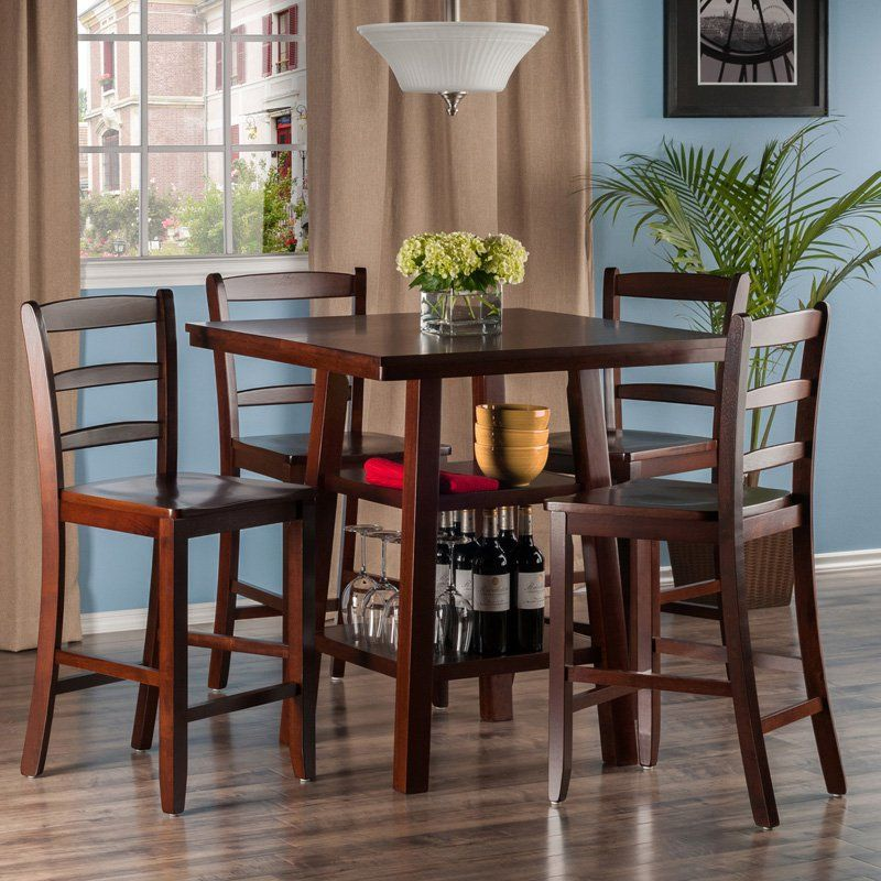 Winsome Orlando 5 Piece Counter Height Dining Table Set With Ladderback Stools