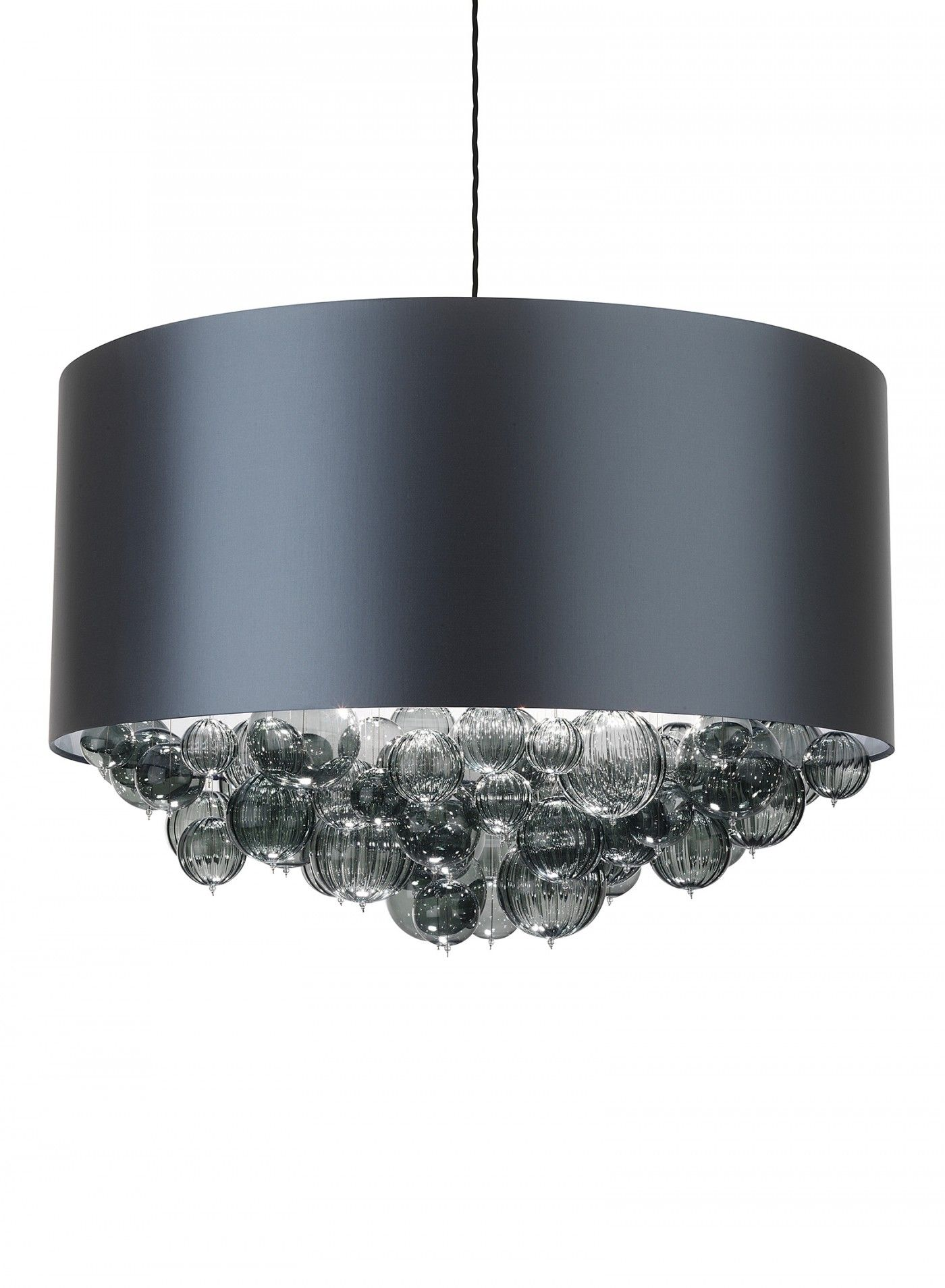 dark teal satin drum pendant with smoke glass bubble chandelier