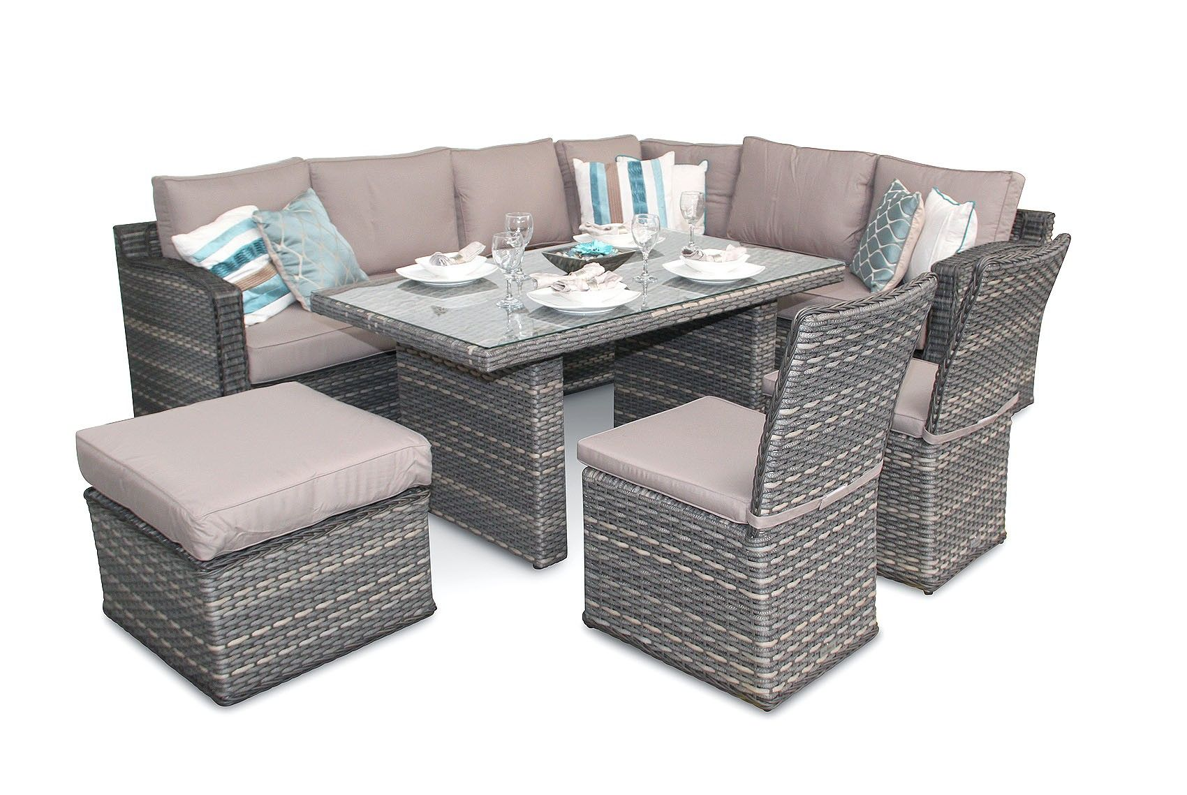 Rattan Garden Furniture L Shape luxury rattan garden corner dining set - impressive design