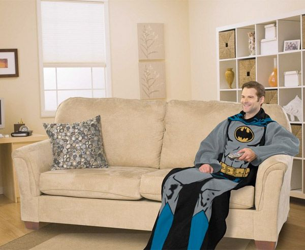 Adult sized Snuggle-style Batman blanket is probably super warm and even has sleeves, so that you will always be ready to fight crime. Best blanket ever? Could be.