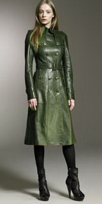 Burberry Prorsum green Leather Trench (2011) | Green Leather ...