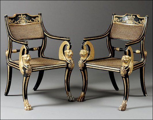 regency painted and gilt armchairs to a design of thomas hope