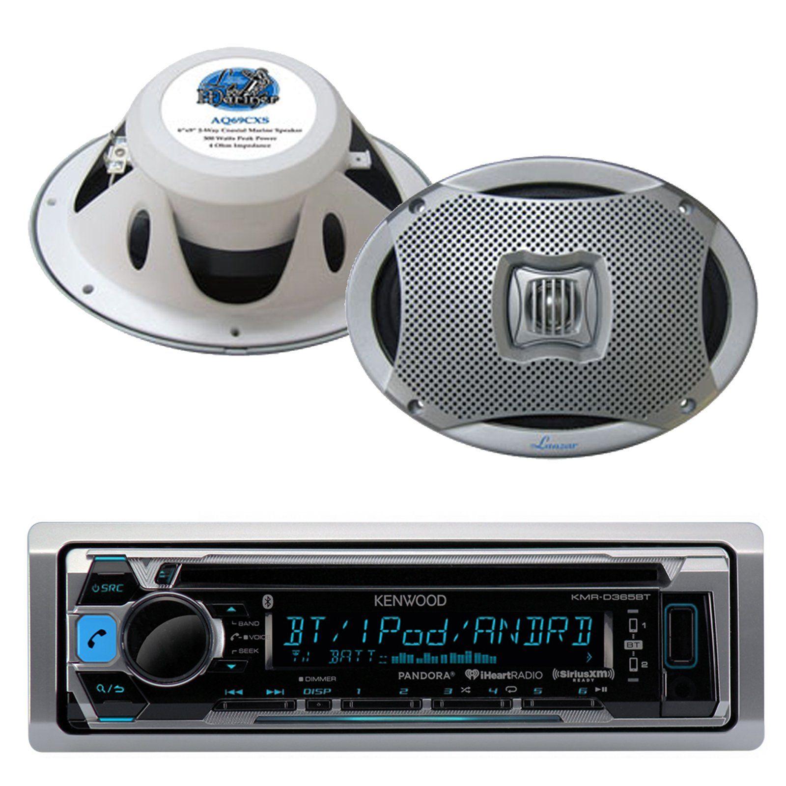 small resolution of kenwood bluetooth usb cd ipod radio 2 lanzar 6x9 500w white marine speaker set