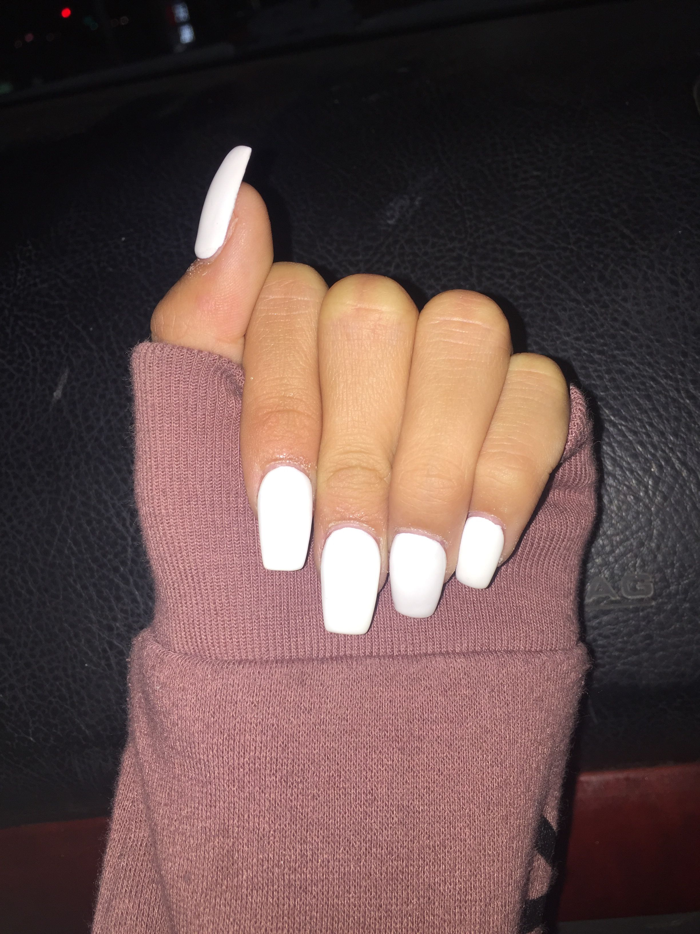 Cute White Acrylics But Asked For Coffin Shaped But They Kinda Looked Square But Still Love White Acrylic Nails Pretty Acrylic Nails Square Acrylic Nails