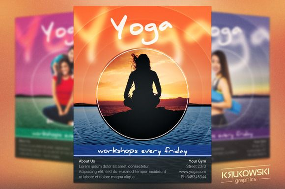 Yoga Workshops Flyer Template by Krukowski Graphics on - workshop flyer template