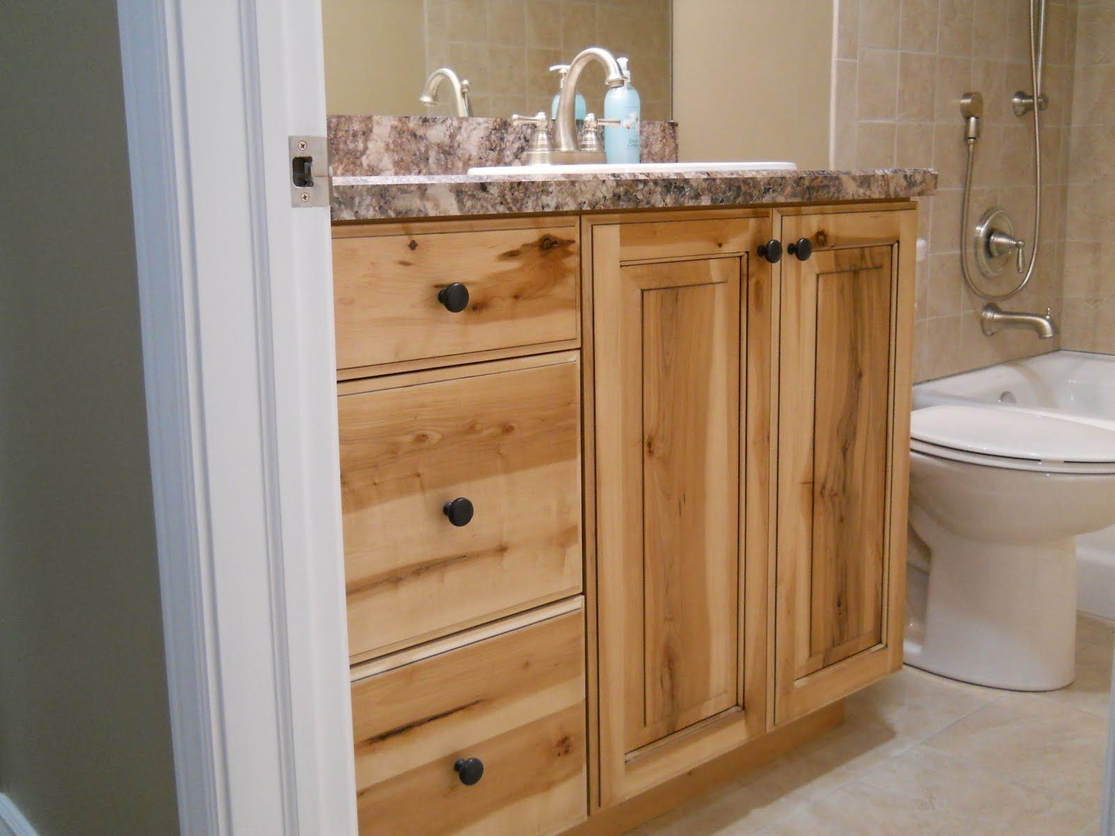 Rustic Bathroom Vanities | Newly Finished Basement Cabinets In Rustic