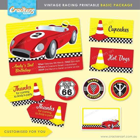 VINTAGE RACING Party Basic Package - DIY Printable - Customised PDFs
