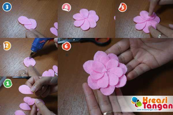 Tutorial Cara Membuat Bunga Kancing Dari Kain Flanel Kain Bunga Kain Flanel
